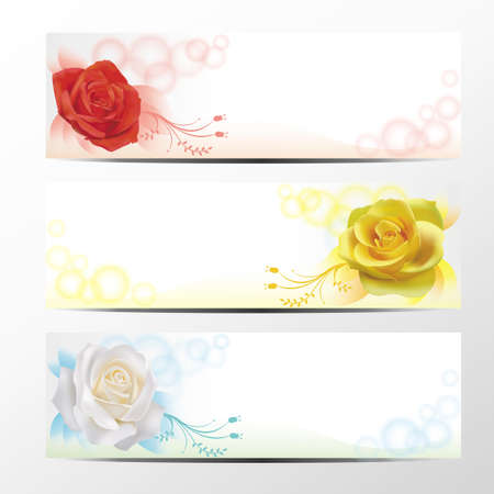 Rose banner collection, set  Vector