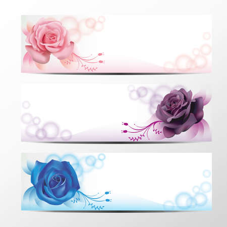 Rose banner collection, set