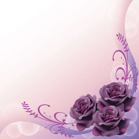 Purple roses background for adult, give the sad and mystic feelings.  Illustration