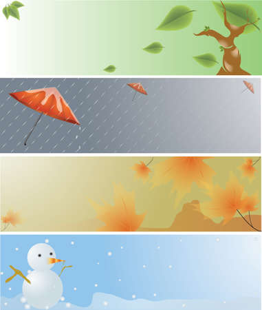 4 seasons banner: spring, rainy, autumn, winter.  Vector