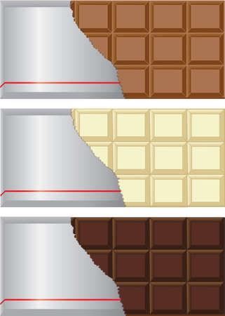 Colección Barra de chocolate con leche, chocolate negro y blanco con el envoltorio desgarrado Ilustración de vector