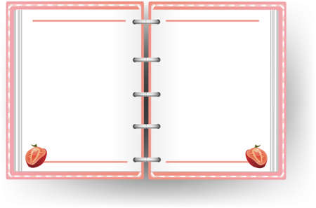 organizer page: Pink diary with no line and strawberry pattern, create by vector