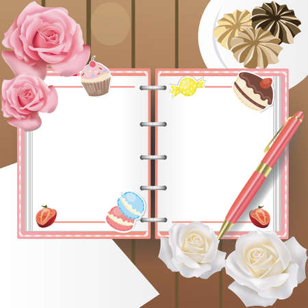 personal organizer: Sweets diary with no line and a ballpoint pen, create by vector Illustration