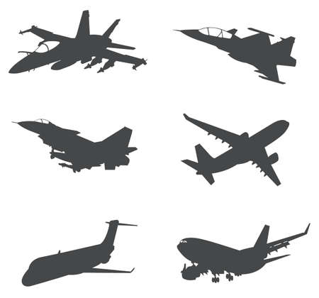 liftoff: Sets of silhouette Aeroplanes, create by vector.