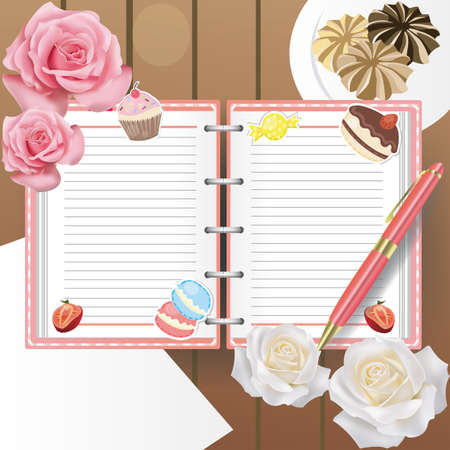 Sweets diary with line and a ballpoint pen, create by vector Vector