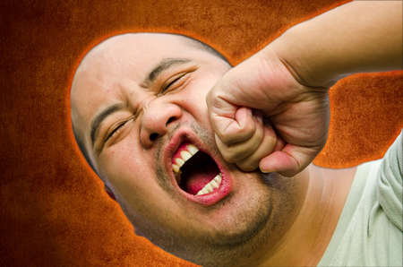 anger management: I bald head man is raging and beating up himself  He need anger management