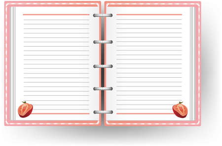 writing tools: Pink diary with line and strawberry pattern