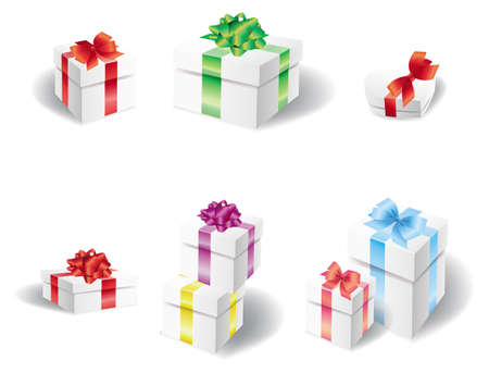Set of white present box  Stock Vector - 17008798