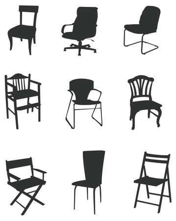 silla de madera: Juegos de muebles silueta Vectores