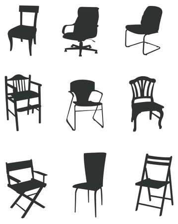 office chair: Sets of silhouette furniture  Illustration