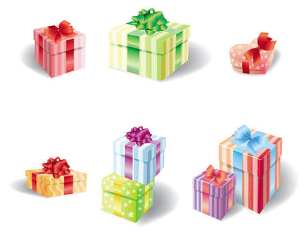 wrap wrapped: Set of colorful present box