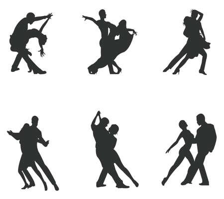 pareja bailando: Juego de pareja silueta bailando Vectores