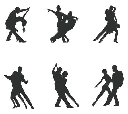 disco symbol: Set of silhouette dancing couple