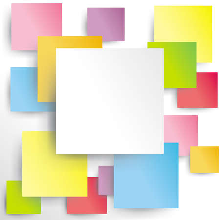 Colorful squares on white paper with shadow