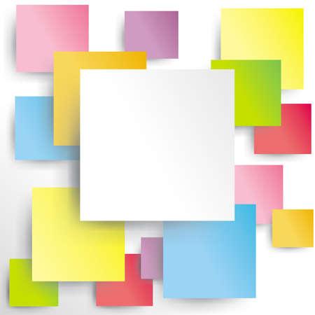 Kolorowe kwadraty na białym papierze z cieniem
