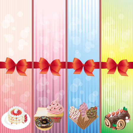 layout strawberry: Sweets and dessert banner collection
