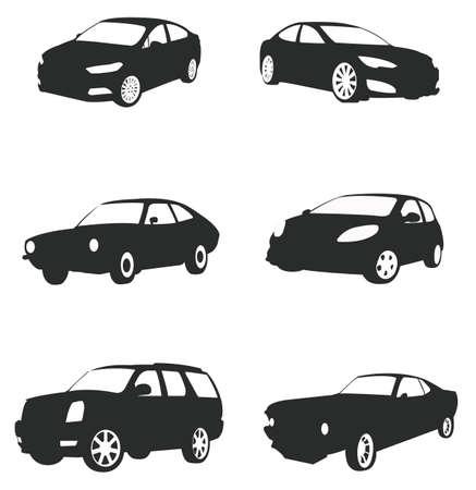 motor de carro: Juegos de coches silueta Vectores