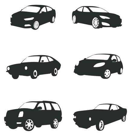 car wheels: Sets of silhouette cars Illustration