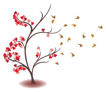 Hojas del corazón se está desvaneciendo en el árbol del amor