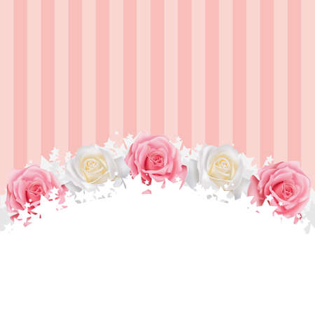 florist: Pinkand white roses background, create by vector Illustration