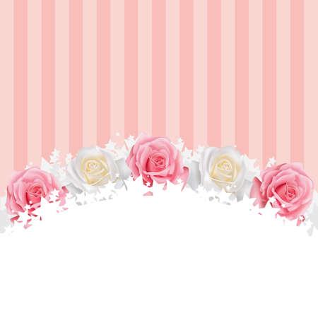 Pinkand witte rozen achtergrond, maken door vector