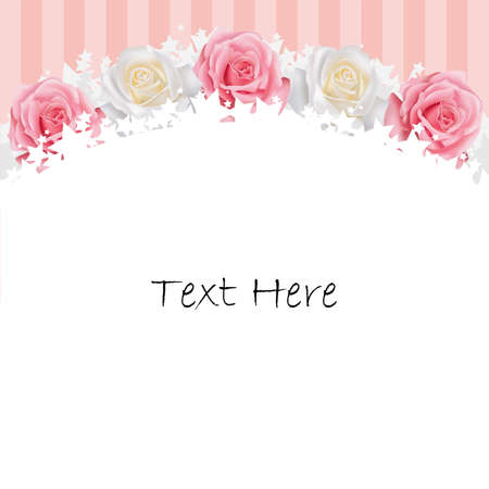 wedding frame: Pinkand white roses background, create by vector Illustration