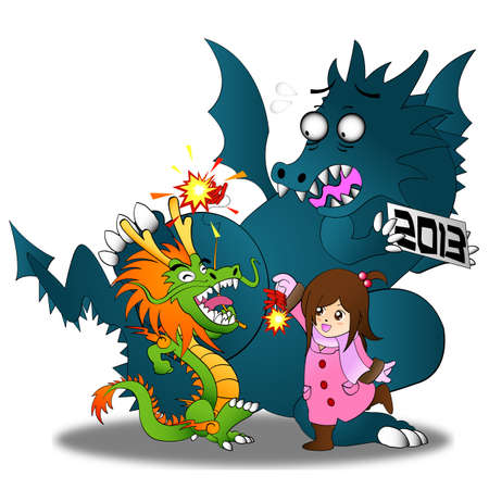 Happy Chinese New Year 2013!! Both Chinese and Western Dragon come to celebrate. Illustration