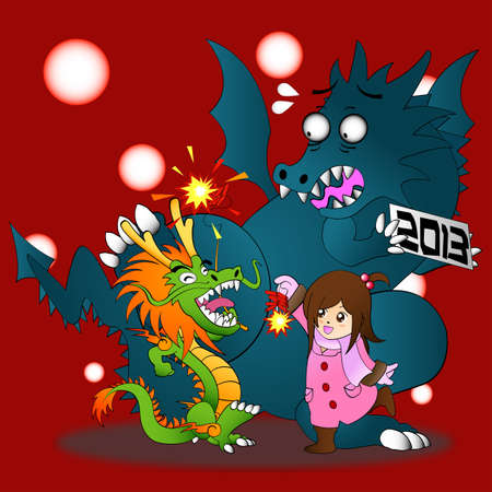 Happy Chinese New Year 2013!! Both Chinese and Western Dragon come to celebrate. Stock Vector - 17203092