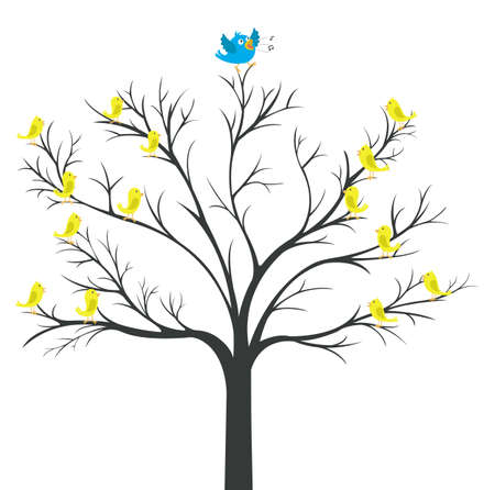 Tree of Blue-bird king with yellow bird watching Vector