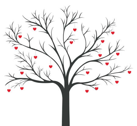 marriage cartoon: Tree of red Hearts hanging on the branches