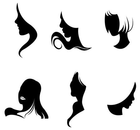 Black girl's facial collection set Vector