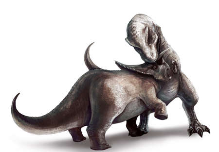 triassic: An illustration of Tyrannosaurus Rex fighting a Triceratops Stock Photo