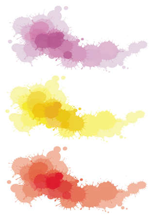 watercolor splash: 3 splatter color set Illustration