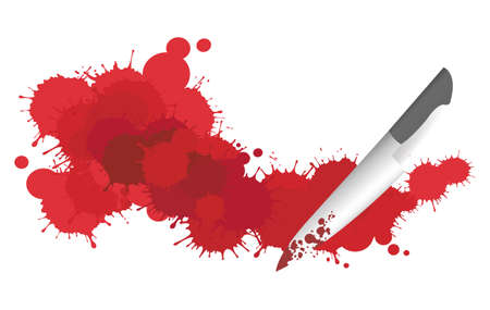 Blood splattering on the floor with a knife Vector