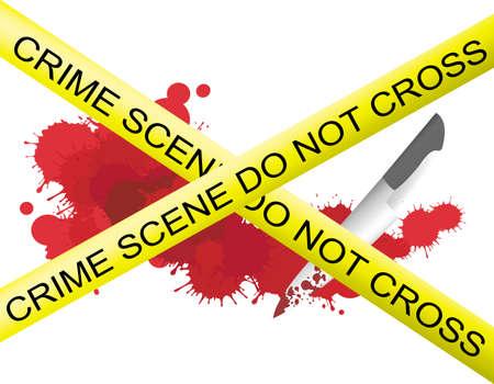 criminal investigation: Crime scene of a knife muderer with blood splatter on the floor