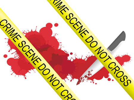 Crime scene of a knife muderer with blood splatter on the floor Stock Vector - 17453078