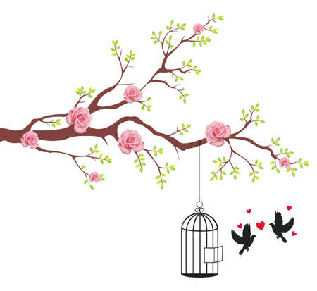 bird cage: Bird of freeing from the cage to its lover. This is conceptional abstract picture. Illustration