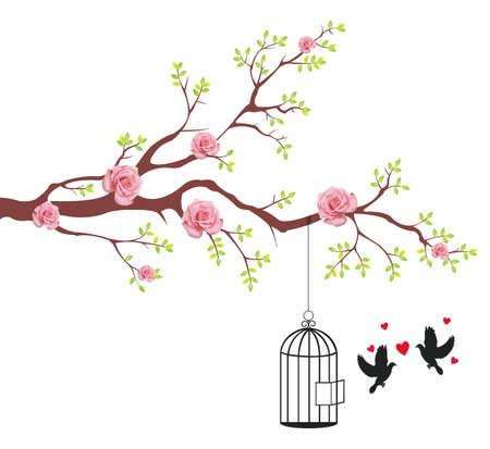 boom met vogels: Vogel van het vrijmaken van de kooi om het de minnaar. Dit is conceptionele abstracte beeld.