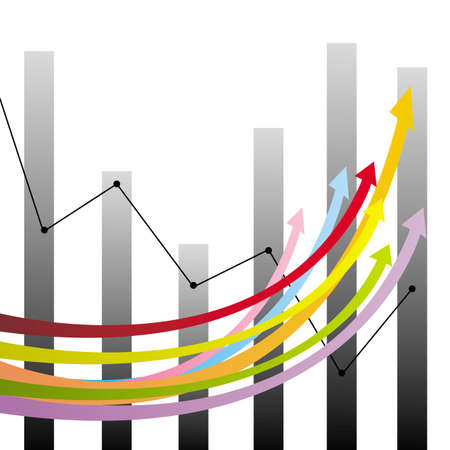 Colorful growth arrows and graphs, create by vector Stock Vector - 17453074