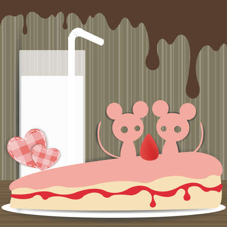 Couple mouse paper background, create by vector Vector