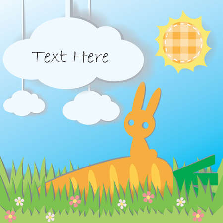 Paper Rabbit on Carrot in field background, create by vector Stock Vector - 17694345