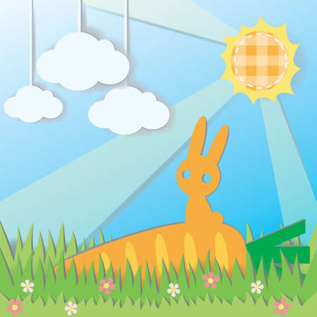 Paper Rabbit on Carrot in field background, create by vector Stock Vector - 17694325