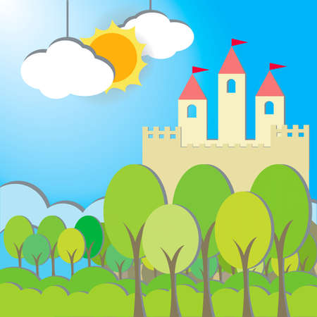 fairy story: Fantasy Castle cardboard card in morning background, create by vector