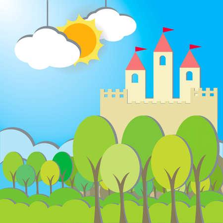 Fantasy Zamek w karton tle rano, tworzenie przez wektor
