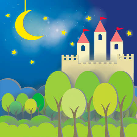 fairytale background: Fantasy Castle cardboard card in midnight background, create by vector Illustration
