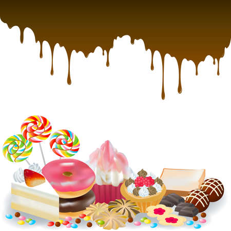 pasteles: Dulces con chocolate goteo en el fondo, crear por vector