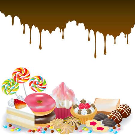 Feingeb�ck: Sweets mit Schokolade tropft im Hintergrund, durch den Vektor erstellen