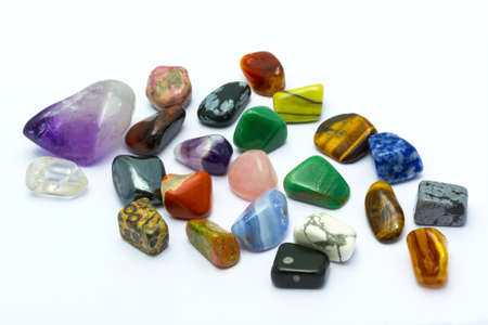 Colorful stones and minerals in white backgrounds photo