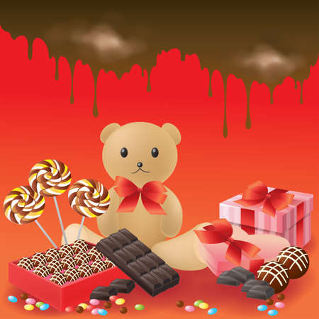 chocolate box: Valentine gifts collection in red, create by vector