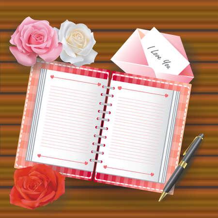 ball pens stationery: Amor diario con la línea de productos alimenticios y otros, crean por vector